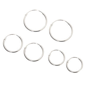 Sterling Silver Graduated Sleek Hoop Earrings - 3 Pack,