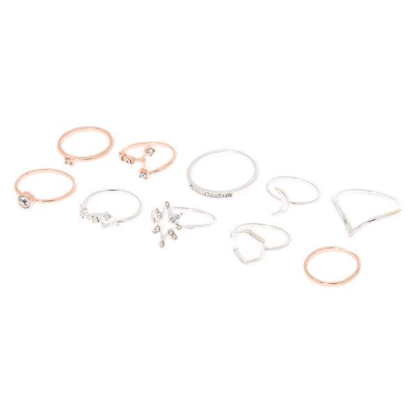 Claire's - lot de 10 bagues cosmiques de tailles variées en métaux mixtes - 1