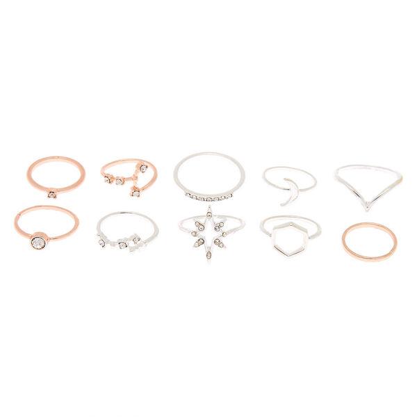 Claire's - lot de 10 bagues cosmiques de tailles variées en métaux mixtes - 2