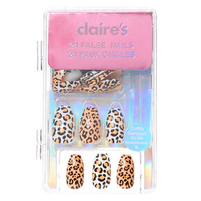 Leopard Coffin Faux Nail Set - 24 Pack,