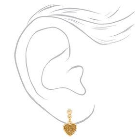 "Mixed Metal 0.5"" Glitter Heart Drop Earrings - 3 Pack,"