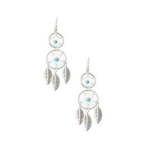 Silver Dreamcatcher Drop Earrings,