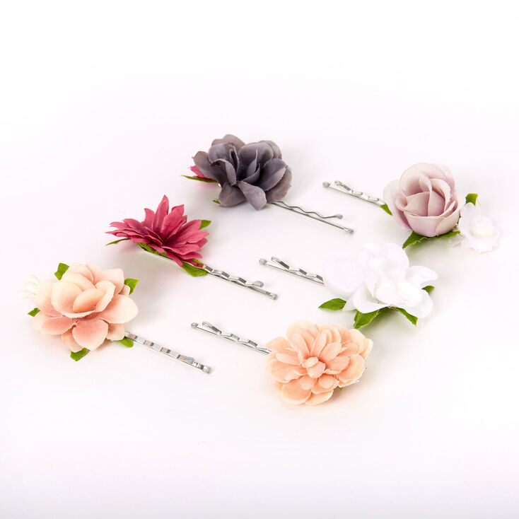 Elegant Neutral Flower Hair Pins - 6 Pack,