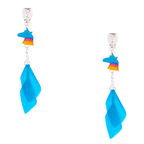 "Silver 2"" Unicorn Feather Clip On Drop Earrings - Turquoise,"