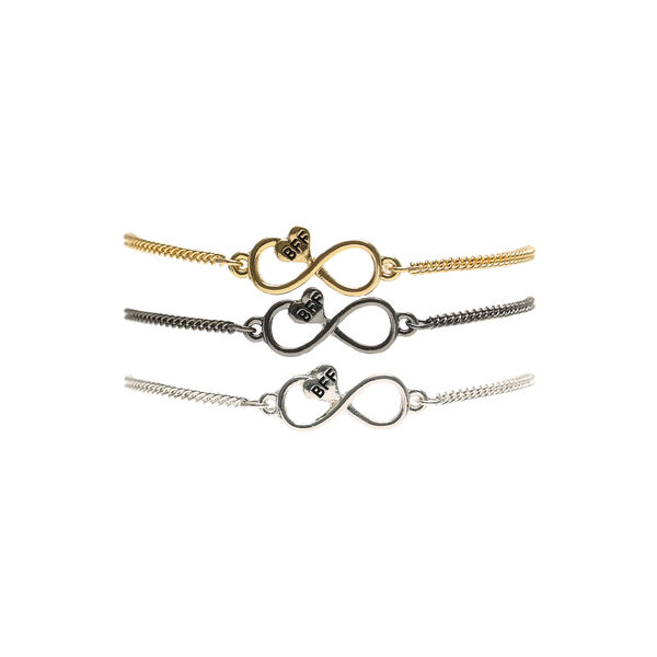 Claire's - mixed metal infinity heart chain friendship bracelets - 1