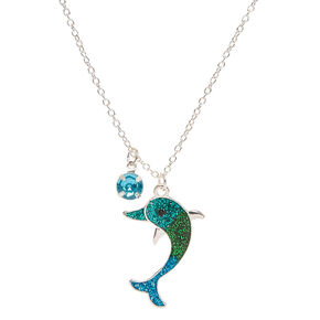 Blue Ombre Glitter Dolphin Pendant Necklace,