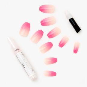 Faux ongles ballerine avec dégradé rose framboise - Lot de 24,