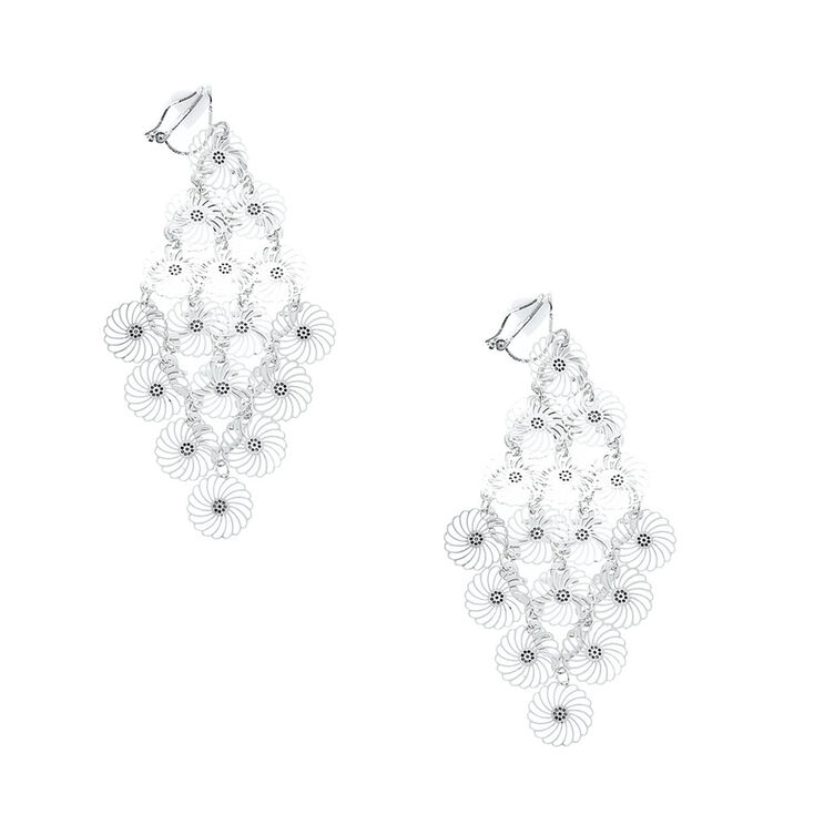 Silver spiral disc chandelier clip on drop earrings claires us silver spiral disc chandelier clip on drop earrings aloadofball Image collections