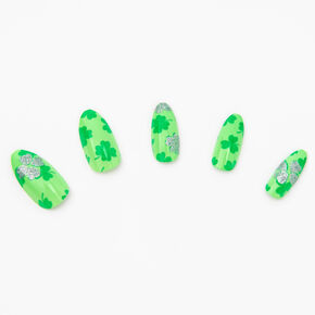 Shamrock Stiletto Press On Faux Nails - Green, 24 Pack,