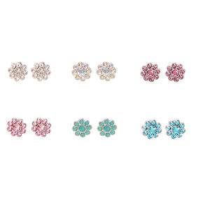 Silver Pastel Embellished Daisy Stud Earrings - 6 Pack,