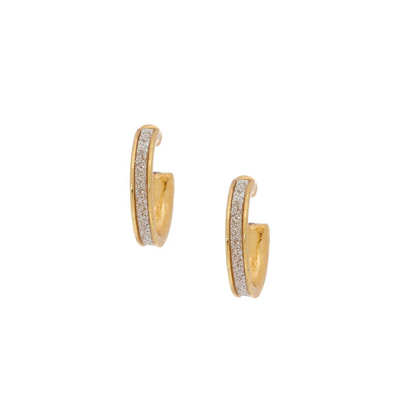 Claire's - 18kt plated 12mm glitter tape hoop earrings - 1