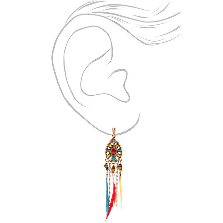 "Gold 4"" Boho Rainbow Feather Clip On Drop Earrings,"