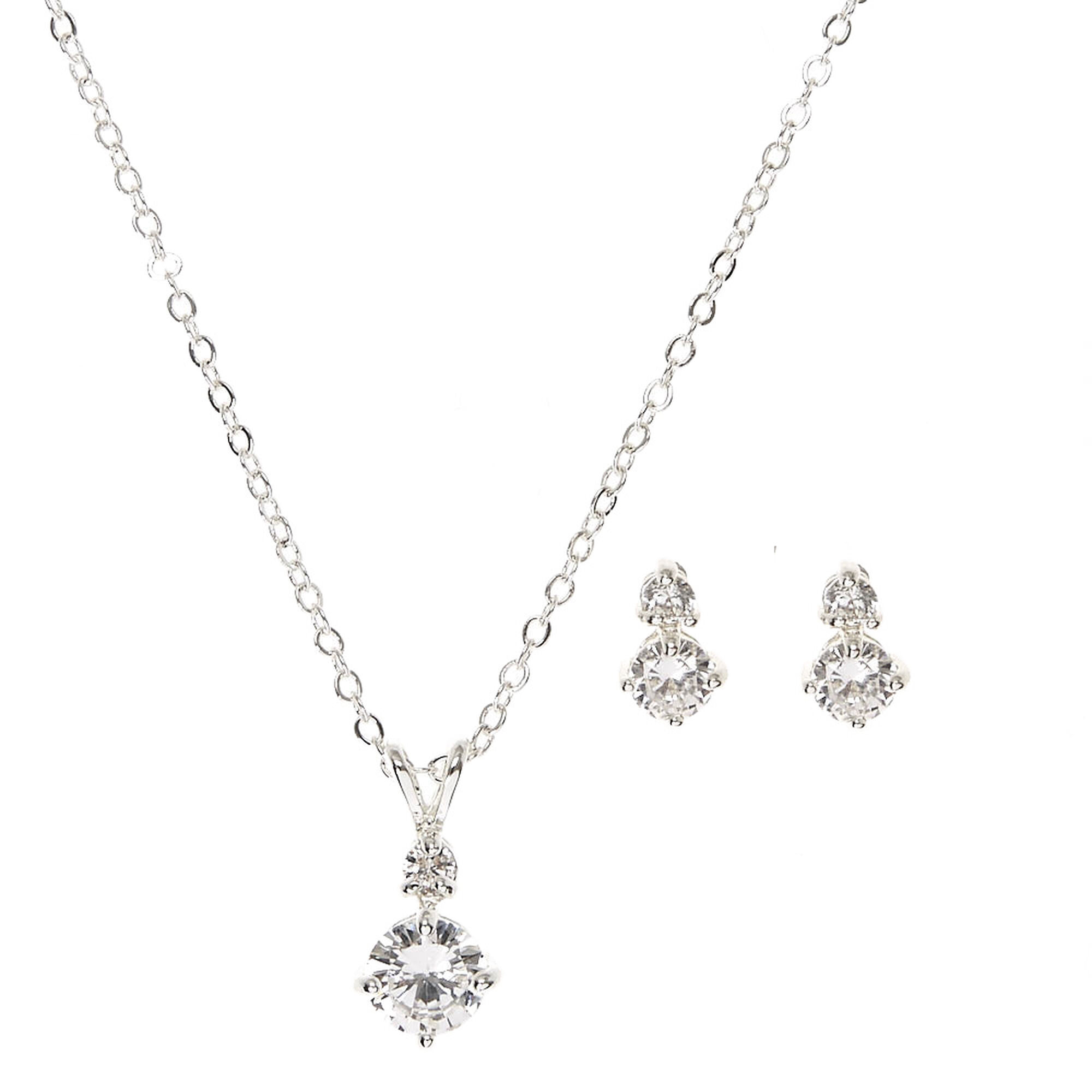 ab necklace in clear earrings swarovski cubic and drop zirconia vintage crystal