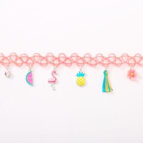 Summertime Charm Tattoo Choker Necklace - Pink,