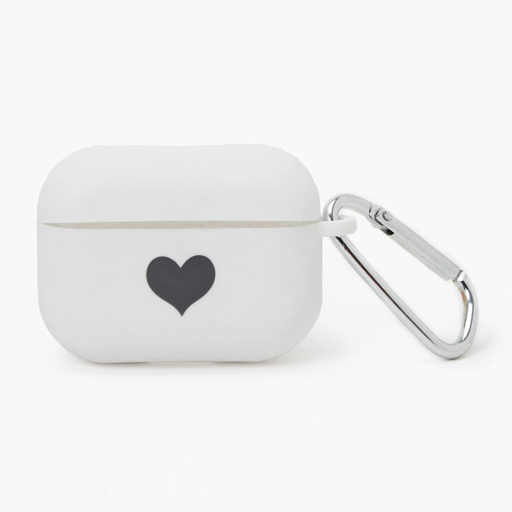 White Heart Silicone Earbud Case Cover - Compatible with Apple AirPods Pro®,