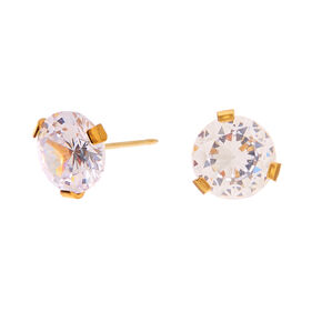 Gold Titanium Cubic Zirconia 7MM Round Stud Earrings,
