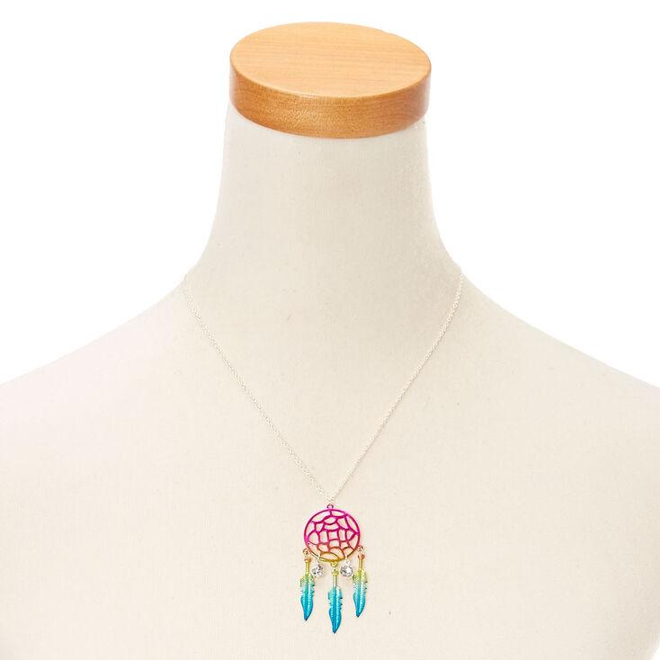 Metallic Rainbow Dreamcatcher Pendant Necklace,