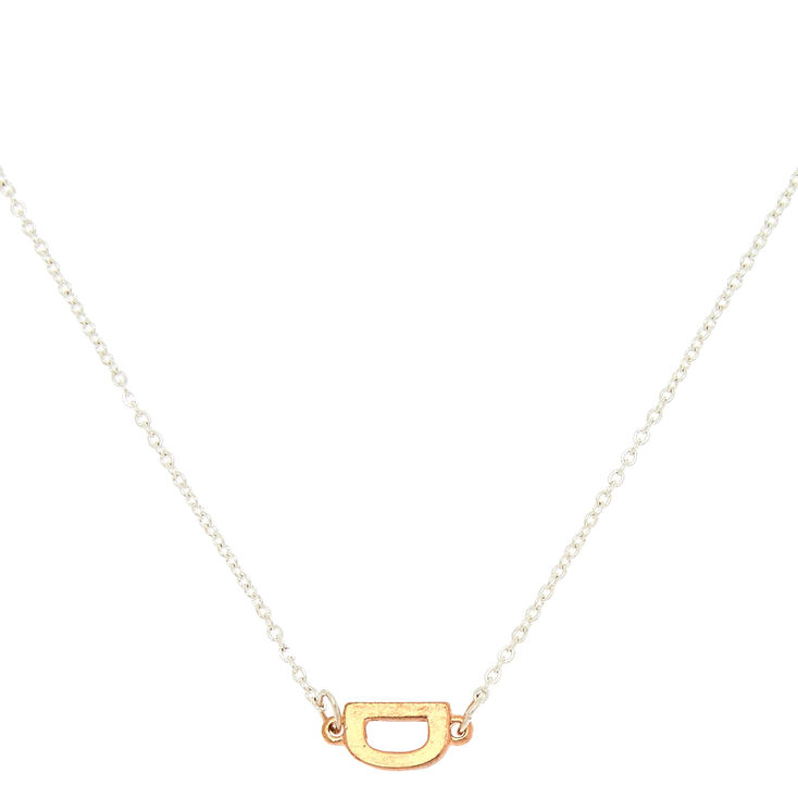 Mixed Metal Sideways Initial Pendant Necklace - D,