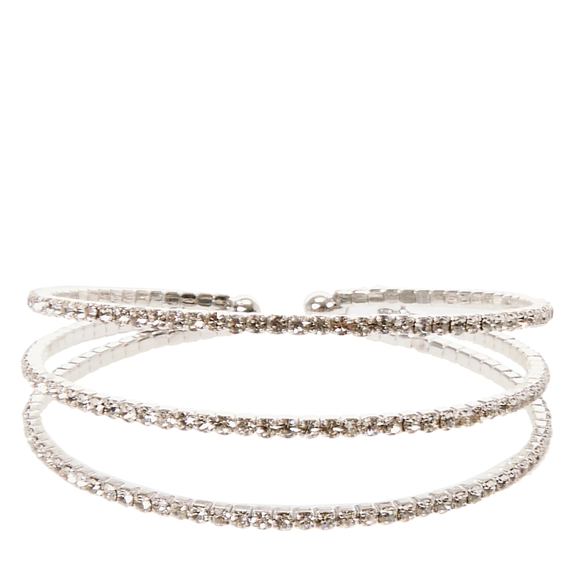 Triple Band Silver Crystal Bracelet | Claire\'s US