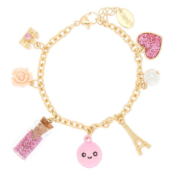 Claire's - gold paris charm bracelet - 1
