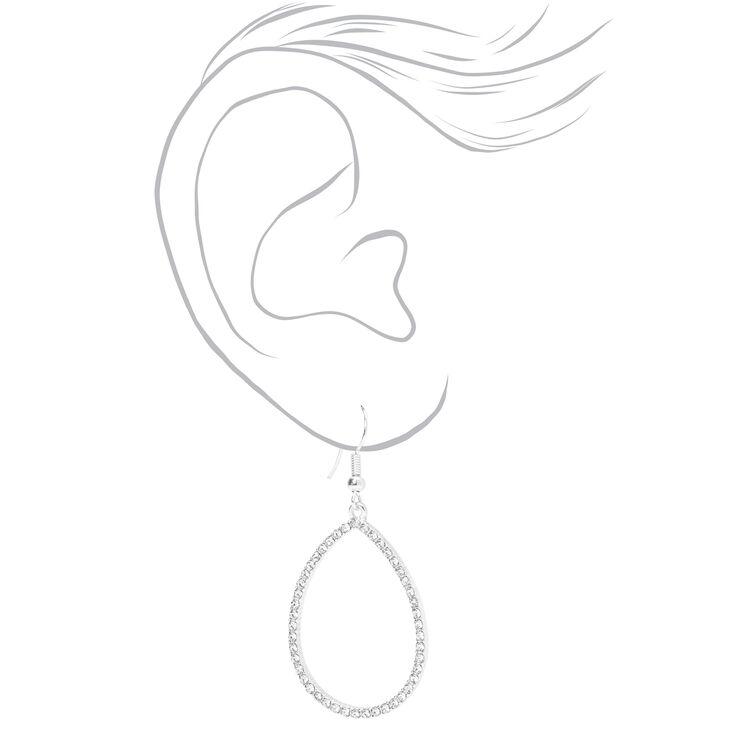 """Silver 2"""" Open Teardrop Crystal Drop Earrings,"""