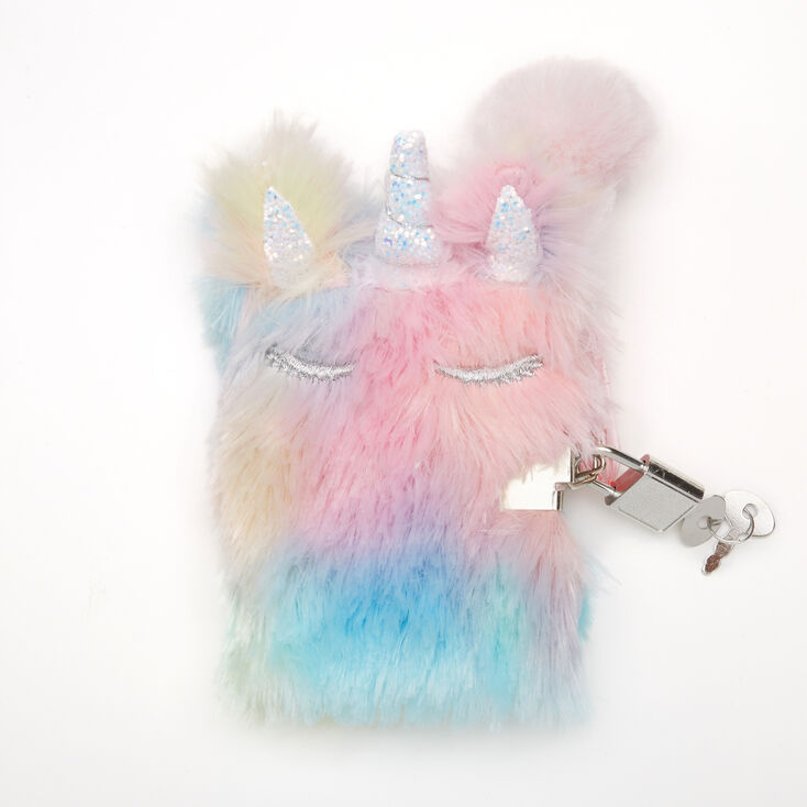 Claire's Club Furry Pastel Unicorn Mini Lock Diary,
