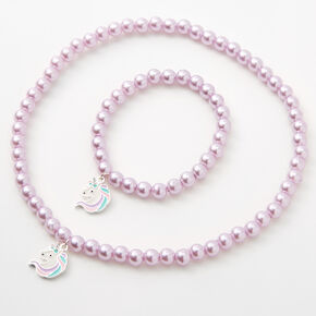 Claire's Club Unicorn Beaded Jewelry Set - Lilac, 2 Pack,