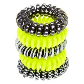 Neon Monochrome Mini Spiral Hair Ties - Yellow, 5 Pack,