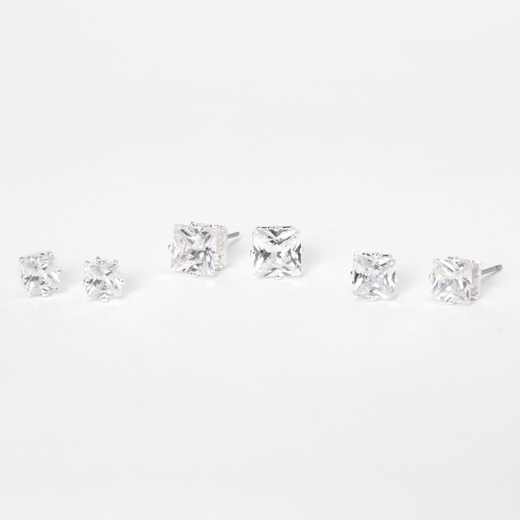 Silver Cubic Zirconia 5MM 6MM 7MM Square Stud Earrings,