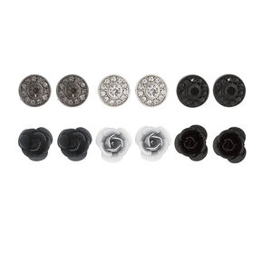 Mixed Metal Round Crystal and Carved Rose Stud Earrings,