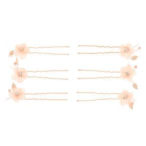 Rose Gold Rhinestone Flower Hair Pins - Blush, 6 Pack,