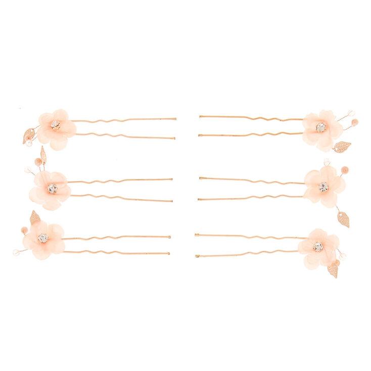 Floral Leaf Hair Pins - Pink, 6 Pack,