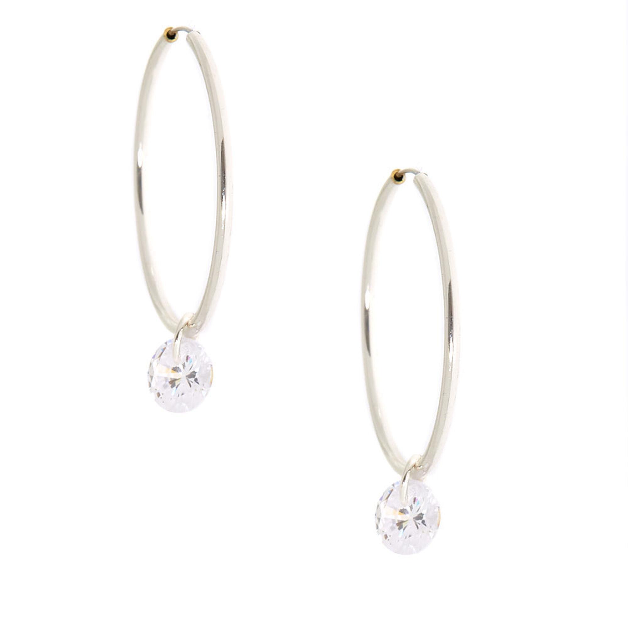 Cubic Zirconia Charm 25MM Hoop Earrings