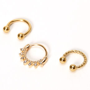 Gold Twisted Crystal Cartilage Hoop Earrings - 3 Pack,