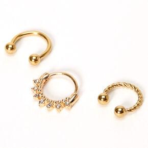Gold 16G Twisted Crystal Cartilage Hoop Earrings - 3 Pack,