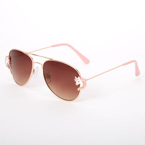 Claire's Club Unicorn Aviator Sunglasses - Rose Gold,