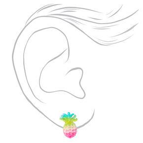 Clous d'oreilles ananas pastel à paillettes,