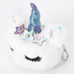 Unicorn Star Pom Keychain - White,