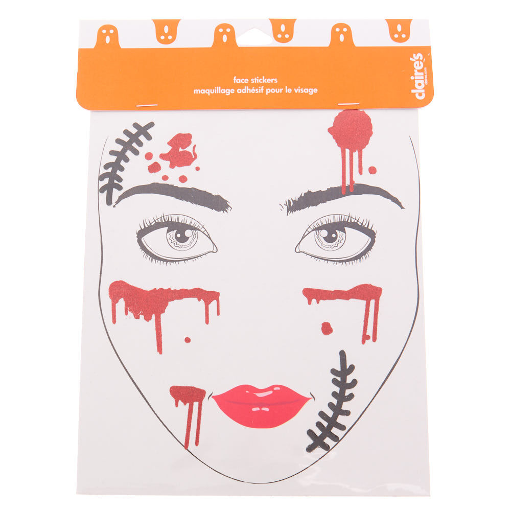 claires girls spider face tattoos - black 8 pack halloween fancy
