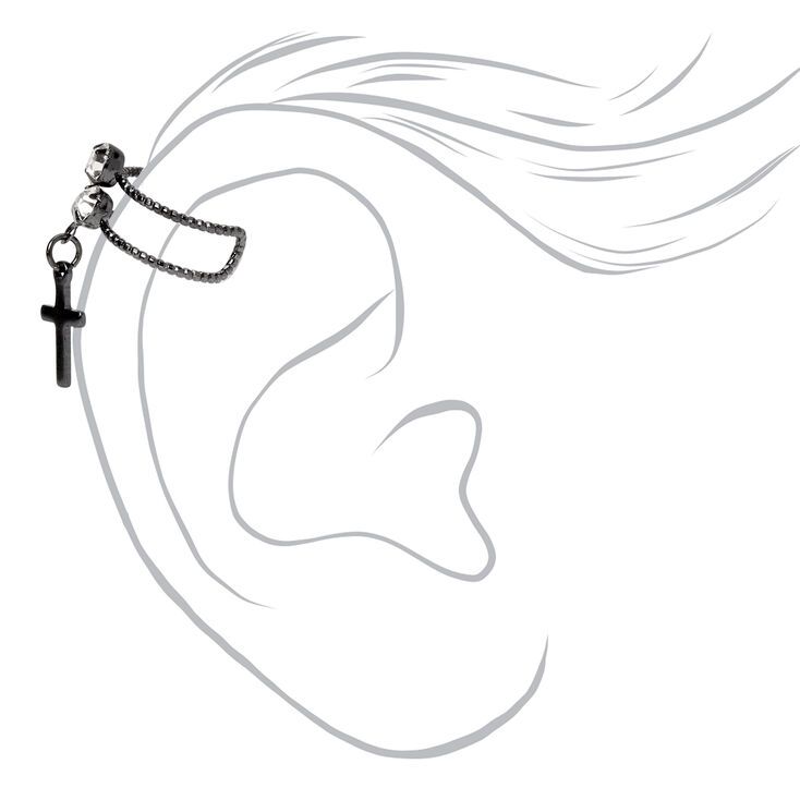Hematite Crystal Cross Ear Cuff,