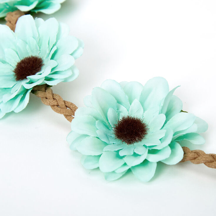 Daisy Flower Tie Headwrap - Mint,