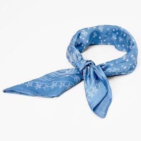 Bandeau bandana céleste soyeux - Bleu,