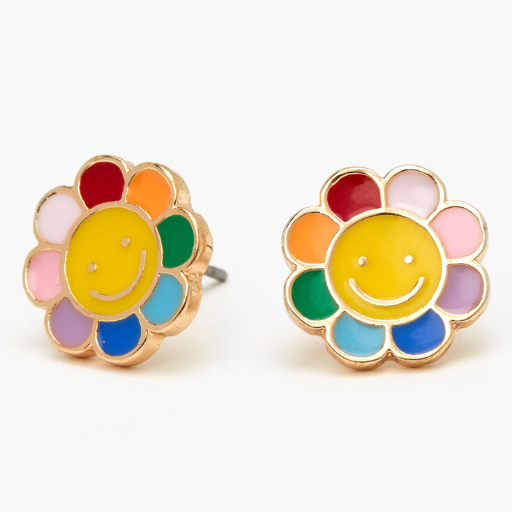 Gold Daisy Smiley Face Stud Earrings,