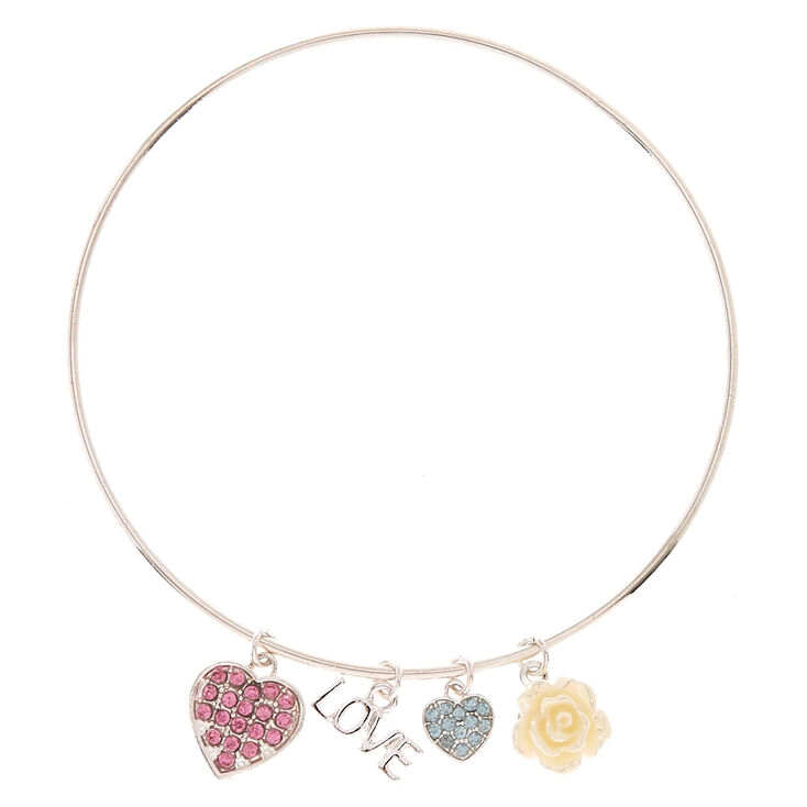 Silver-tone Love Charm Bangle Bracelet,