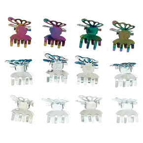 Glitter Anodized Butterfly Hair Claws - 12 Pack,