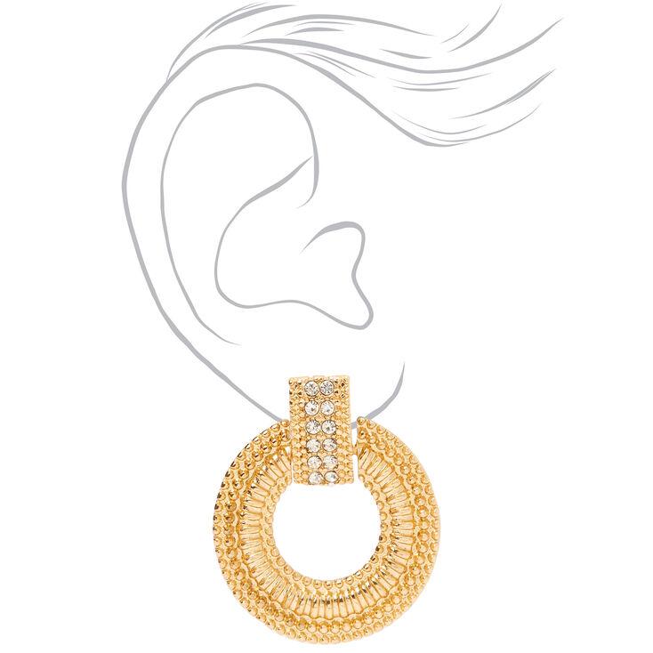"Gold 2"" Crystal Circle Door Knocker Drop Earrings,"