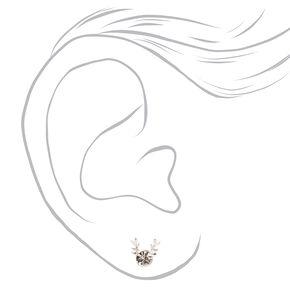 Clous d'oreilles bois de renne strass couleur argentée,