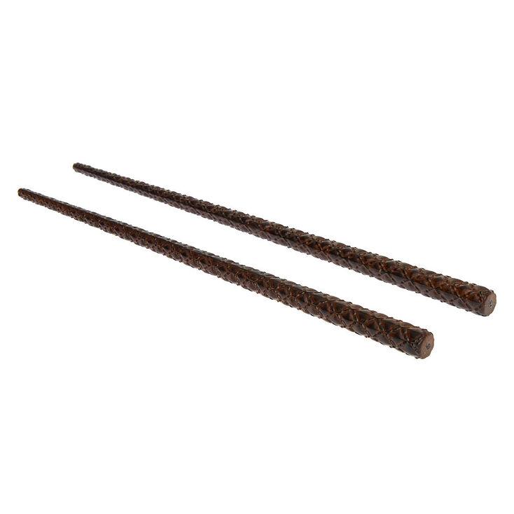 Baguettes à cheveux matelassées en bois d'imitation foncé - Marron, Lot de 2,
