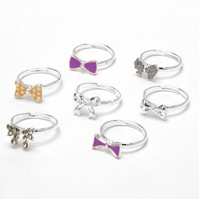 Claire's Club Heart Box Bow Rings - Lilac, 7 Pack,
