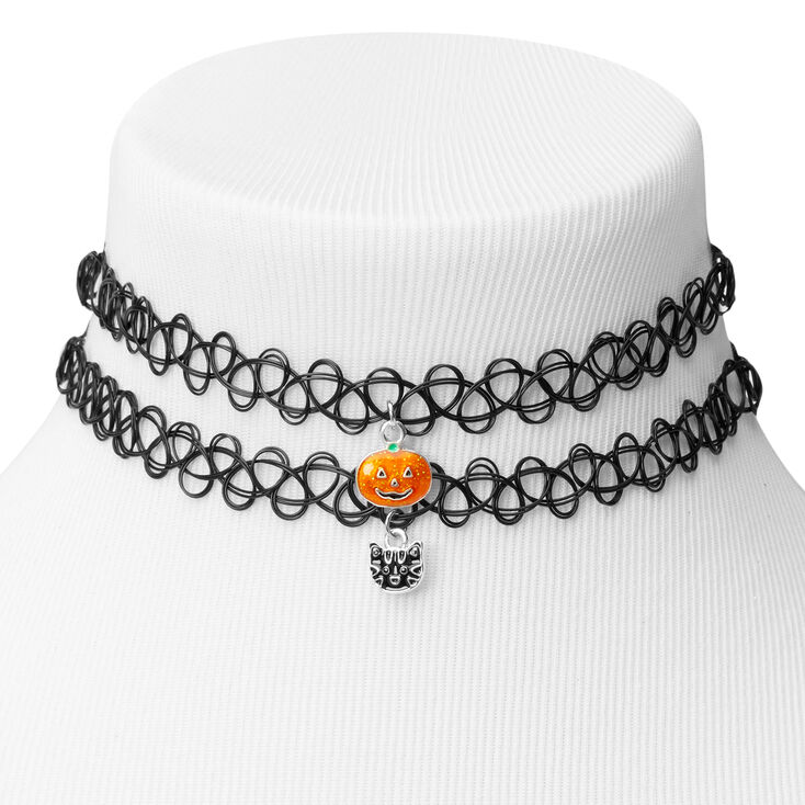 Pumpkin Cat Tattoo Choker Necklaces - Black, 2 Pack,
